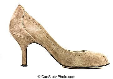 high heeled shoe on white background