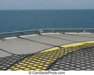 Heli-deck - Looking towards the horizon on a ship's...