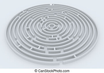 Round maze on white surface