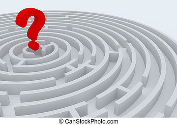 Round maze with 3d question sign in center