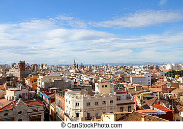 Valencia, Spain. Skyline of the old town.