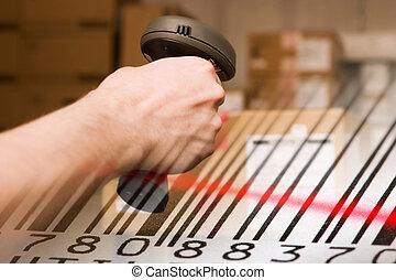 Barcode scanner and label close-up. - Barcode scanner and...