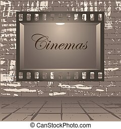 Cinema and wall - Empty publicity board with illumination...