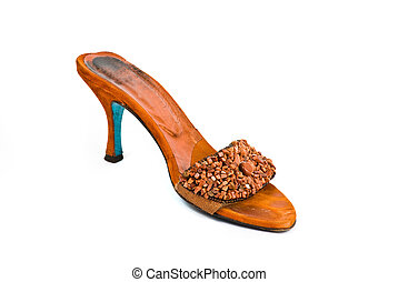brown high heeled shoe