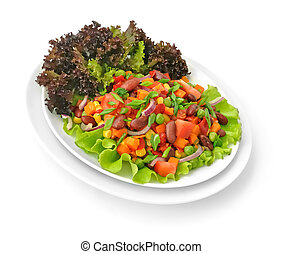 Vegetable Salad - Vegetable salad with beans and Lollo rosso