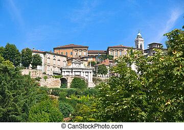 View of Bergamo Alta, Italy - View of Bergamo Alta old town,...