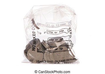 Money bag of sterling ten pence coins studio cutout