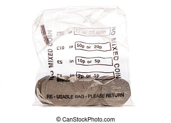 Money bag of sterling fifty pence coins studio cutout