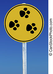 Animal Paw Prints Sign - Circular Sign with animal paw...