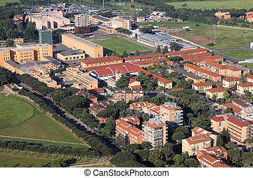 Rome suburb - Rome, Italy - aerial view of the architecture...