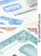 Stock certificates - Stock market collectibles. Old stock...
