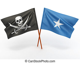 Flag of Somali and Holly Roger on white isolated background....