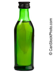 green alcohol bottle white background