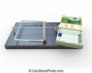 Mousetrap with euro on white isolated background 3d