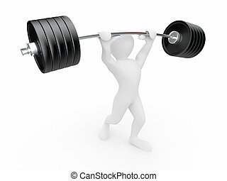 Men with barbell 3d - Men with barbell on white isolated...