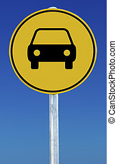 Car Sign - Picture of a car on a yellow road sign on a blue...