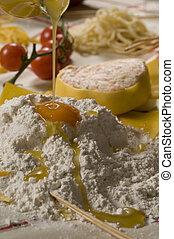 cibo - pasta italiana preparazione buon pranzo