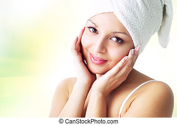 Skin care. - Portrait of an attractive girl on green...