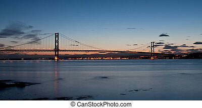 Forth road bridge at dusk - Nice panoramic image of the...
