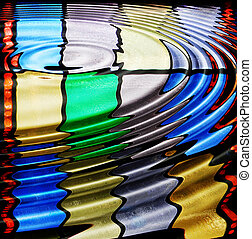 Glass ripple - Abstract design of rippled stained glass...