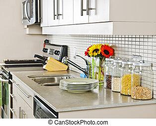 Kitchen interior - Modern small kitchen interior with...