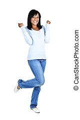 Happy young woman - Happy black woman celebrating isolated...