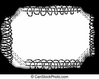 frame barbed wire fence