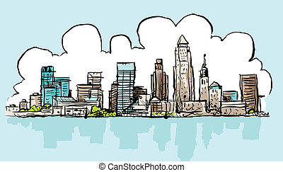 Cartoon Cleveland - Cartoon skyline of the city of...