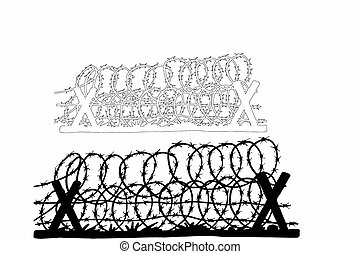 hand drawn barbed wire fence