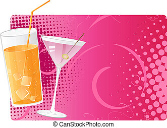 Juice and martini on pink halftone background