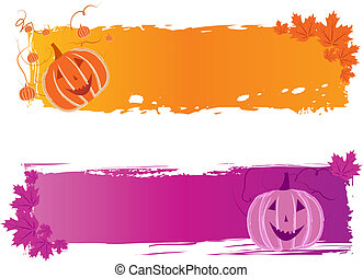 Halloween banners with pumpkin