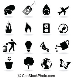 Black eco icons - Eco and environment icons in black