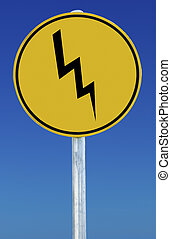 Lightning Bolt Sign - A lightning sign isolated on a blue...
