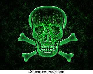 Skull and crossbones on a black background