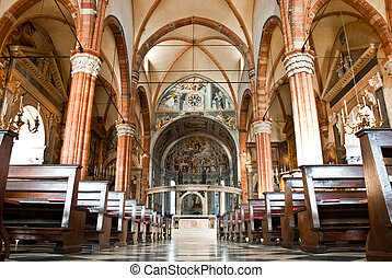 Duomo church in Verona - Interior of the Duomo church in...