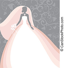 bride - Invitation cards with the bride in a veil
