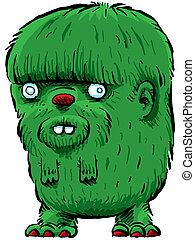 Fuzzy Green Beast - A fuzzy, green cartoon monster.