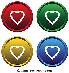 Plastic buttons with a heart