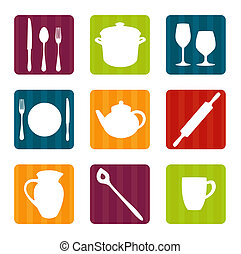 Colorful kitchen tool icons, illustration