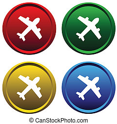 Plastic buttons with the plane - Four multi-colored, plastic...