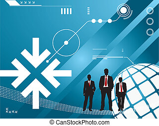 technology background with silhouette of Businessmen -...