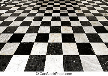 Checkers - Black and white tiles in checkers pattern