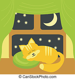 nice sleeping cat near the window vector illustration
