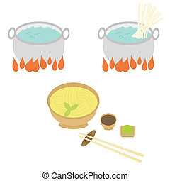 process of cooking of noodle on white background