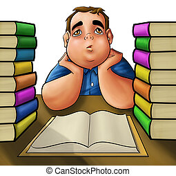 hard reader - young fat boy with a pile of book to read