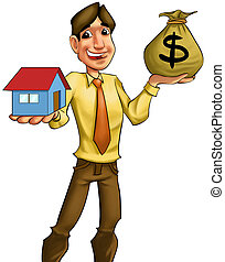 buying a house - young man with a bag of money going to sell...