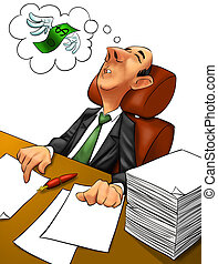 executive nightmare - executive sleeping in his work time...
