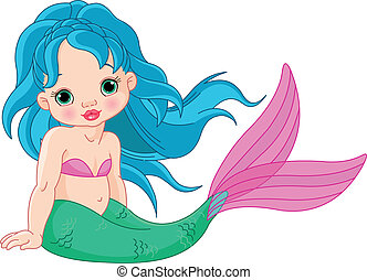 Mermaid baby Girl - Illustration of a cute baby mermaid girl...