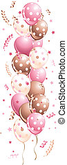 Pink holiday Balloons in line - Illustration of pink holiday...