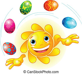 Cute Easter Sun juggling - Cute Easter Sun juggling with...
